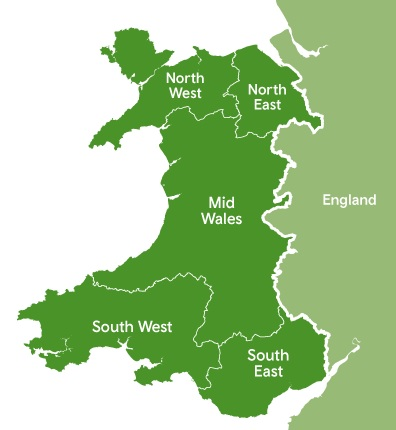 Image shows five regions in Wales: North West, North East, Mid Wales, South West, South East